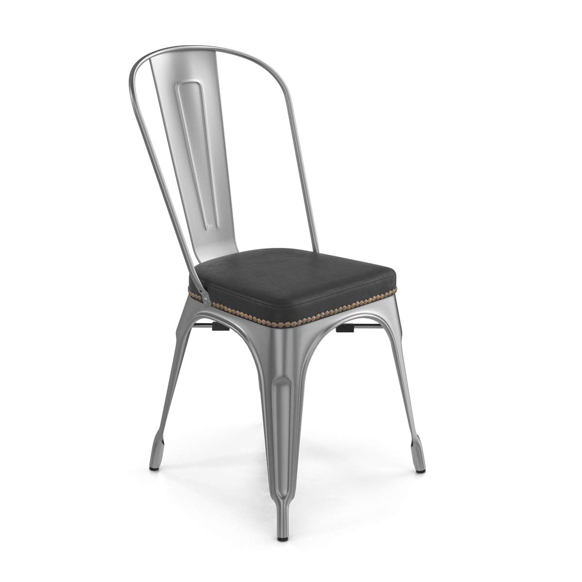 Bastille Upholstered Cafe Stacking Chair, Set of 2, Silver