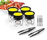 Artestia Ceramic Butter Warmer Set for Seafood (4, Black + 2 Seafood Crackers + 4 Forks)