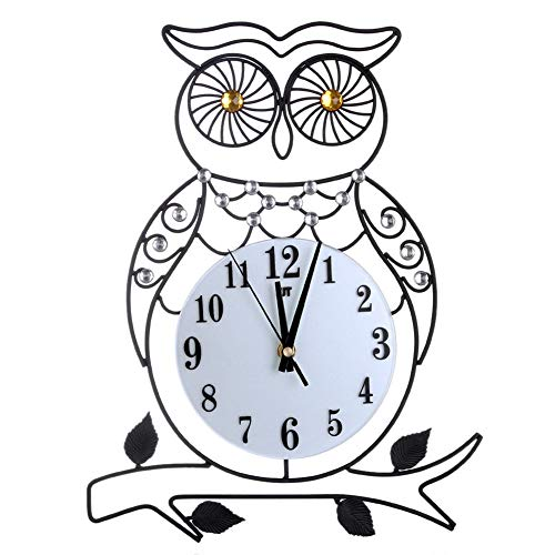 NOMSOCR Decorative Wall Clock, Owl Shaped Digital Metal Wall Clock Wall Art for Kitchen, Living Room, Bathroom, Bedroom, Office - Shaped Clock Owl