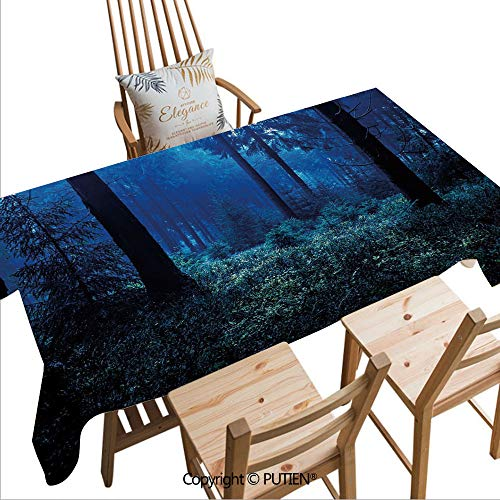 SCOCICI Everyday Kitchen Tablecloth Misty Nature Scene of Autumn Forest in Thuringia Germany Tranquil Woodland Decorative Waterproof and Washable,W82xL55(inch)
