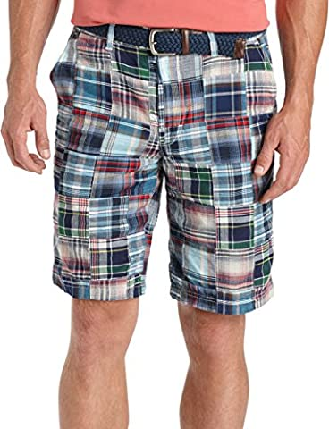 IZOD Men's Flat Front Madras Patchwork Short, Midnight, 40W - Blue Patchwork Shorts