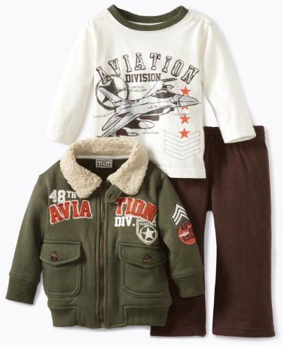 Little Rebels Baby Boys' Three Piece 48th Aviation Division Jacket Set