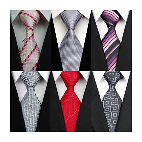 f0b0afb9dd76 Fengyang Pack of 6 Colorful Stripe Classic Men's Tie Polyester Silk Necktie  Woven JACQUARD Neck Ties, Silver, Pink, Red, Purple, Black, White, Medium