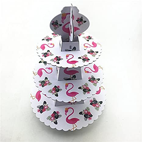 Flamingo Cupcake Stand, 3 Tier Dessert Tower Ceramic Cheese Plates Design for Desserts, Birthdays, Decorations
