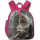 Elephant Shower Double Zipper Waterproof Children Schoolbag With Front Pockets For Teens Boys Girls