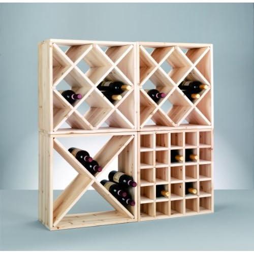 Zeller 13170 Croix casier à vin en bois naturel, 52 x 25 x 52 cm