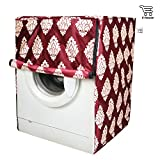 E-Retailer Classic Maroon Flower Design Front Loading Washing Machine Cover (Suitable For 6 kg, 6.5 kg, 7 kg, 7.5 kg)
