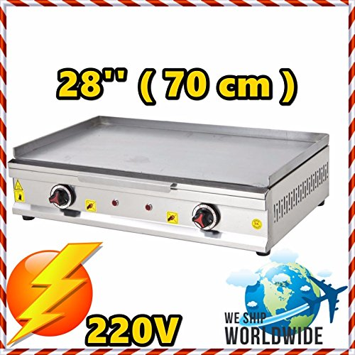 28 '' ( 70 cm ) Commercial Kitchen Equipment Electric Countertop Flat Top Restaurant Grill Plate BBQ Stove Cooktop Manual Griddle (220 Volts Cooking Ranges)