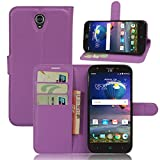 ZTE Grand X 3 Case,Gift_Source [Card Slots][Stand View] Premium Litchi Texture PU Leather Holster Magnetic closure Folio Flip Wallet Case Cover for ZTE Grand X3 / ZTE Z959 [Purple]
