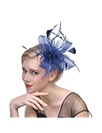 ea4d5781f7eb00 Women's Fascinator Hat Flower Bead Bowler Feather Flower Hair Clip