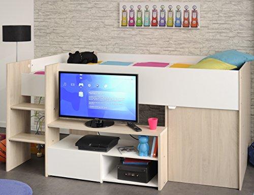 Hochbett Eiche sesam beige weiß inklusive TV-Lowboard + Regale + Schrank + Lattenrostplatte Spielbett Kinderbett Halbhochbett Kinderzimmer