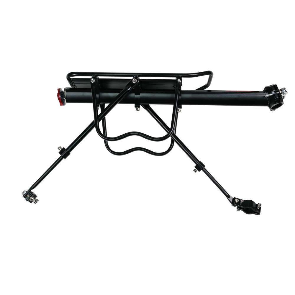 DakRide Bicycle Touring Carrier with Reflector Lamp Rear Bike Rack Bicycle Cargo Rack Quick Release Adjustable Alloy Bicycle Carrier 115 Lb Capacity Easy to Install Black