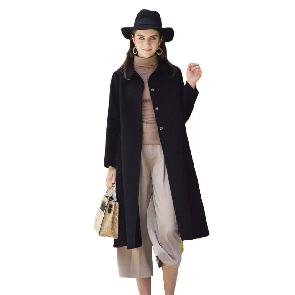 ... YongBe Signore Nero Lungo Lana Cappotti Inverno Lavori Ufficio Formale  Formale Ufficio Slim Fit Cappotto Parka 1feab184c4a