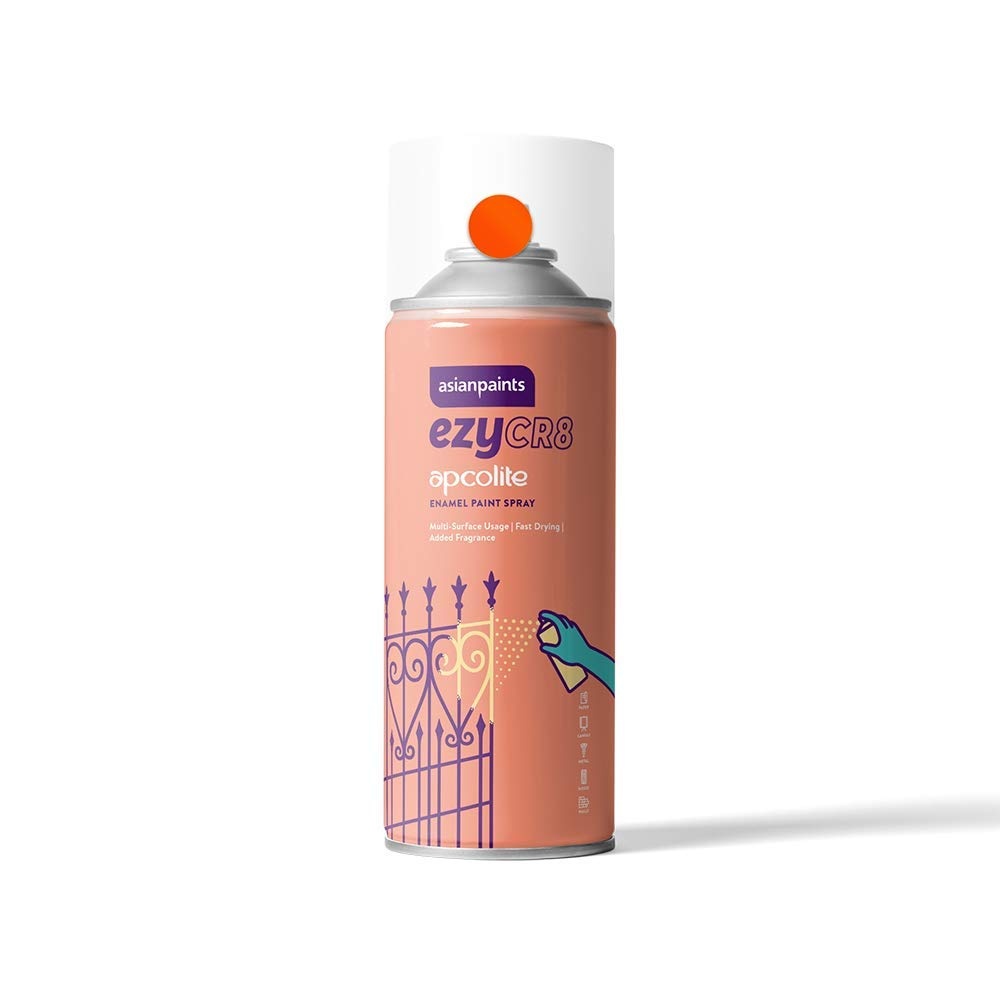 Asian Paints ezyCR8 Apcolite DIY Enamel Aerosol Paint Spray, 200 ml – Deep Orange