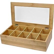 Estilo EST0216 Bamboo Tea Storage Box, 10 Equally Divided Compartments, Wood
