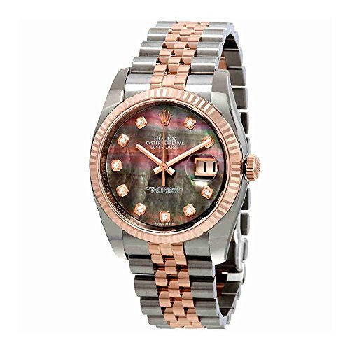 - Rolex Oyster Perpetual Datejust 36 Black Mother of Pearl Dial Stainless Steel and 18K Everose Gold Jubilee Bracelet Automatic Ladies Watch 116231BKMDJ