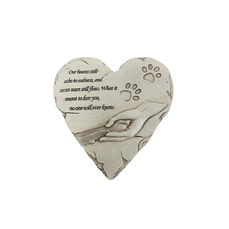 dog supplies online dog memorial stone, personalized hand-printed heart-shaped loss of pet gifts dog with sympathy poem and paw in hand design, dog is your sincere family (white)