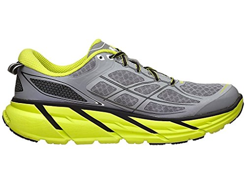 HOKA ONE ONE Men's Clifton 2 Shoe (11, Grey/Acid)