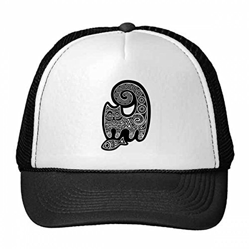 Black White Cat Fish Pattern Trucker Hat Baseball Cap Nylon Mesh Hat Cool Children Hat Adjustable Cap (Amp Mesh Hat)