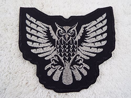 Black Silver Flying OWL Embroidered Iron-on Patch]()
