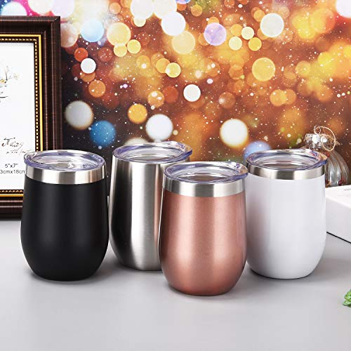 4 Pack 12Oz Stemless Wine Tumbler Wine Glasses Set Stainless Steel Cups with Lid Set of 4 Shatterproof - BPA Free Healthy Choice Family Daily Use