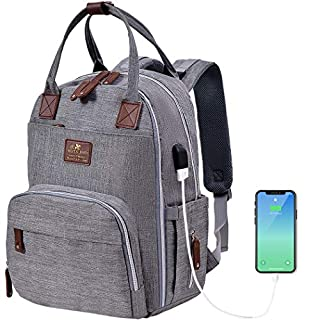 Baby Diaper Bag Backpack W/USB Charging Port, Multi-Function Waterproof Travel Backpack Nappy Bags for Baby Care, Large Capacity, Stylish and Durable (Light Grey) (Grey)