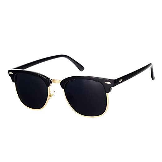 4fa18b941e Pro Acme Classic Semi Rimless Polarized Sunglasses with Metal Rivets (Black Gold  Rimmed)