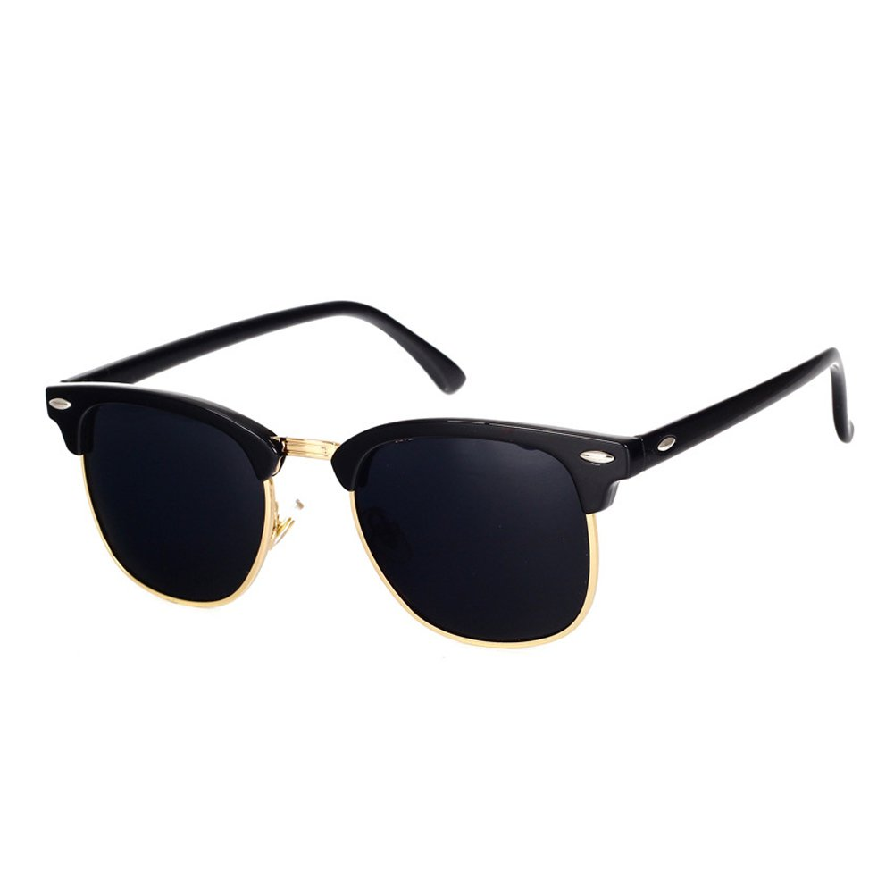 791f76fb58 Pro Acme Classic Semi Rimless Polarized Clubmaster Sunglasses with Metal  Rivets (Baby Black Grey