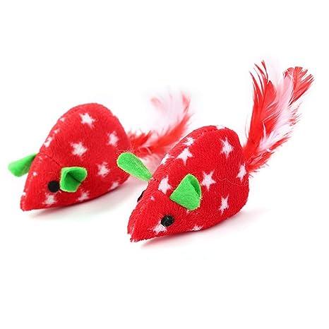 Fogun 2 Juguetes interactivos para Gatos con Forma de ratón, Juguete de Navidad