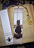 Sepia Tone Kitty Cat Kitten Schubert Waiting Patiently in Window Photo Bookmark w/ Cloisonne Fish Beads Fine Art Photography Photo Laminated Handmade Bookmark