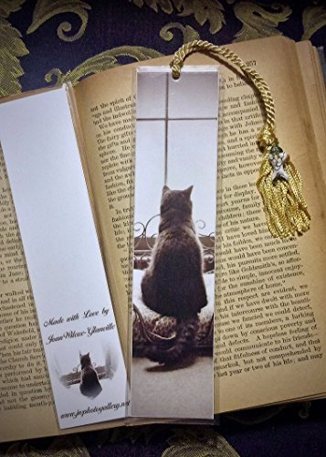Sepia Tone Kitty Cat Kitten Schubert Waiting Patiently in Window Photo Bookmark w/ Cloisonne Fish Beads Fine Art Photography Photo Laminated Handmade Bookmark - Kitty Cloisonne