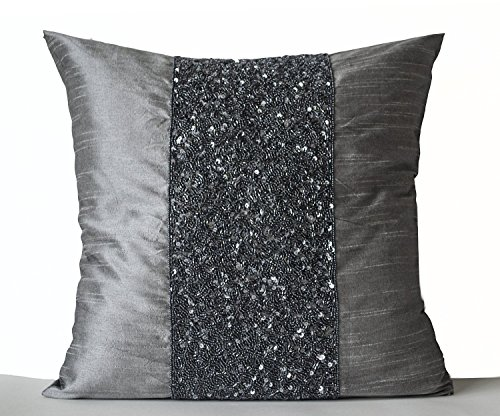 Amore Beaute Handcrafted Grey Beaded Pillows -Grey Silk Meta