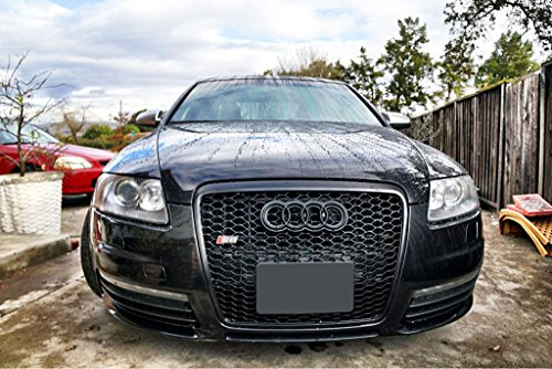Euro RS6 Style Front Sport Hex Mesh Honeycomb Grill S Line Black For Audi A6 S6 C6 05-11