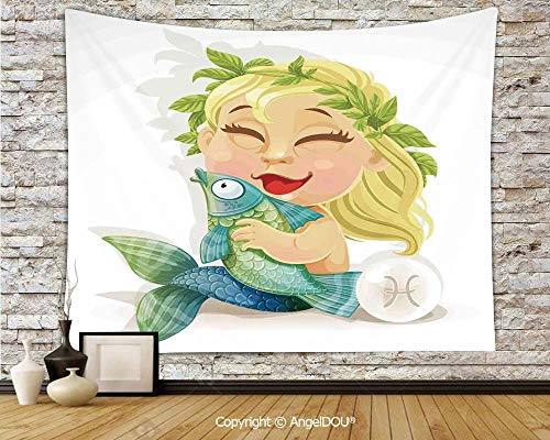 AngelDOU Astrology Camping Tent Travel Mattress Tapestry Baby Pisces Symbol Holding Fish Nemo Horoscope Collection Venus Little Mermaid Boho Polyester Thin Tapestry.W59xL51.2(inch)