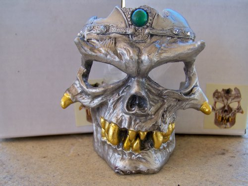 Skull Tealight Candle Holder Metal Viking Pirate Jeweled Crown