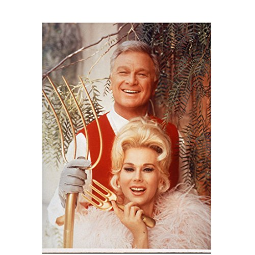 Green Acres (TV Series 1965 - 1971) 8 inch by 10 inch PHOTOGRAPH from Slide Eddie Albert Red Vest Over White Shirt & Eva Gabor White Feathers - Acres Pictures Green