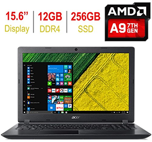 2018 Acer Aspire 15.6-inch HD Display Laptop PC (AMD A9-9420 3.0GHz, 12GB RAM, 256GB SSD, AMD Radeon R5 Graphics, Bluetooth, 802.11ac, SD Card Reader, HDMI, USB 3.0, HD Webcam, Windows 10)