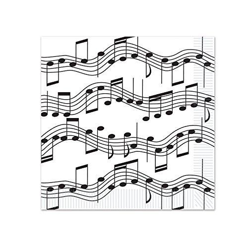 (Beistle Musical Notes Beverage Napkins, White/Black)