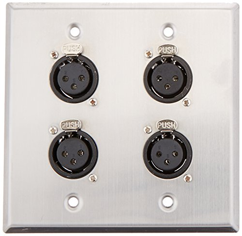 (Seismic Audio SA-PLATE29 Stainless Steel Wall Plate 2 Gang with 4 XLR Female Connectors for Cable Installation)