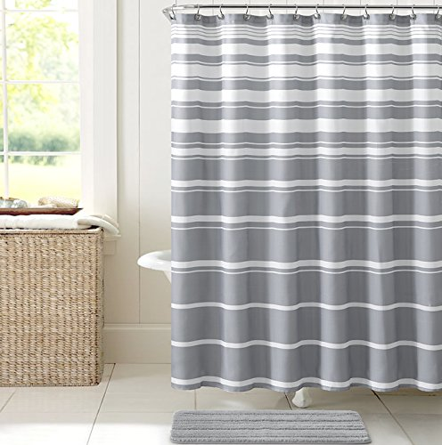 """UPC 735732232411, Grey White Faux Linen Fabric Shower Curtain: Variation Horizontal Stripe Design, 70"""" x 72"""" inches"""