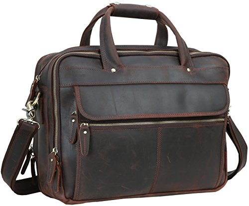 Iswee Men's Leather Vintage Style Messenger Bag Portfolio Briefcase Fit 2 Laptops Case 14'' 16'' Attach Case by Iswee