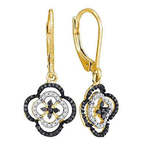 - 10k Yellow Gold Black Diamond Clover Dangle Earrings Flower Drop Style Fashion Leverback Fancy 1/3 Cttw