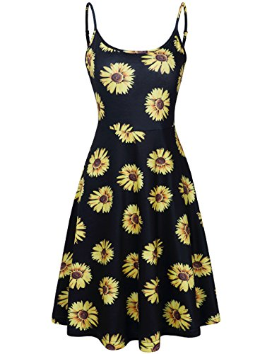 MOOSUNGEEK Sunflower Dress, Women's Summer Beach Midi Flared Tank Dress On Sale Black Flower L