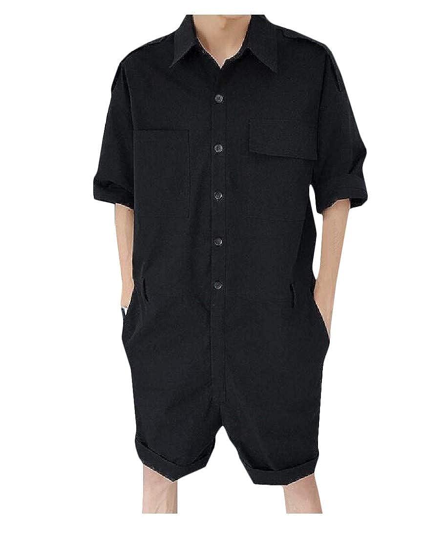 Pandapang Mens Cotton Loose Playsuit Button Down Cargo Pants