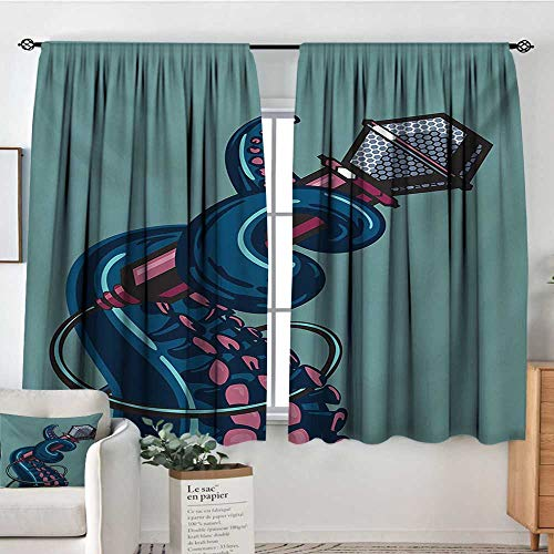 Octopus Patterned Drape for Glass Door Octopus Tentacle Holding a Microphone Retro Style Cartoon Rock and Roll Artwork Bedroom Blackout Curtains 72