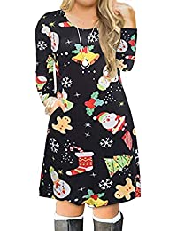 Womens Plus Size Christmas Print Casual Swing T-Shirt Dress with Pockets