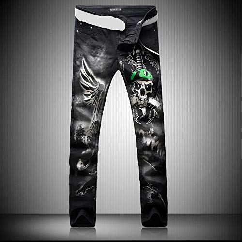 Futtle Men's Individuality Pirate Printed Jeans Male Slim Fit Trousers Nightclub Motobike Style Pants (3, 36) by Futtle (Image #1)