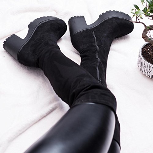 Synthetic Over Sole Black SPYLOVEBUY Stretch Cleated Heel Platform Block WISTLE Knee Suede Boots xISwAqS0P