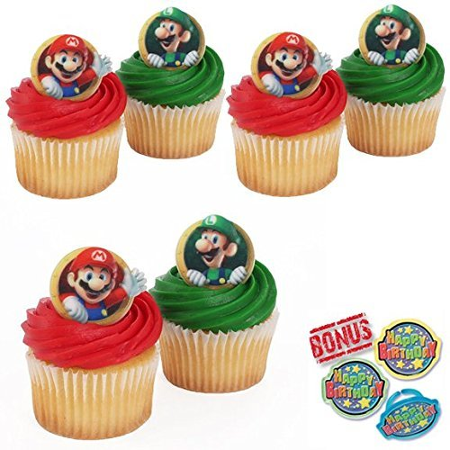 Super Mario Bros Cupcake Toppers and Bonus Birthday Ring - 25 pieces