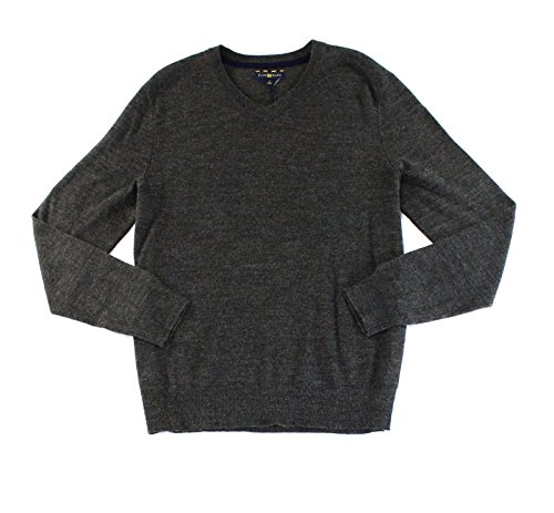 Merino Wool Blend Sweater (Club Room Mens V-Neck Wool Blend Pullover Sweater Large L Ebony Heather Gray)